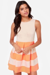 Theme Song Orange and Beige Dress at Lulus.com!