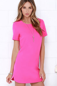 Idlewild Fuchsia Shift Dress at Lulus.com!