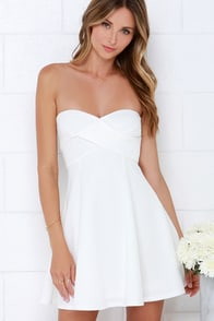 Right Here With Me Ivory Strapless Dress at Lulus.com!