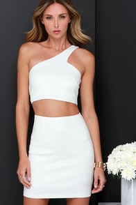 Diagonal Artistry Ivory One Shoulder Dress at Lulus.com!