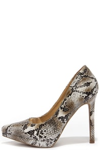 Report Tashi Natural Snakeskin Platform Pumps at Lulus.com!