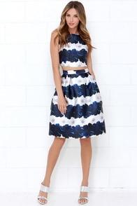 Stem Fatale Blue Floral Print Two-Piece Dress at Lulus.com!