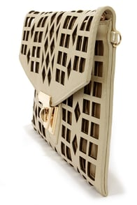 Geo du Jour Cutout Gold Clutch at Lulus.com!