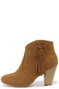 Report Myka Tan Suede Fringe Booties at Lulus.com!