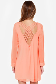 Lattice Dance Neon Coral Shift Dress at Lulus.com!