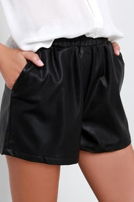 Glamorous Howlin' Black Vegan Leather Shorts at Lulus.com!