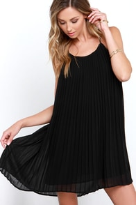 Glamorous Pretty Pleats Black Shift Dress at Lulus.com!