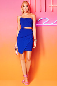 Victory Lap Royal Blue Strapless Two-Piece Dress at Lulus.com!