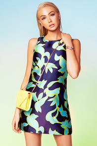 Copacabana Sunrise Navy Blue Print Dress at Lulus.com!