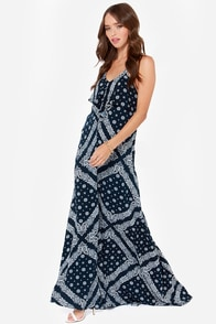 Tally Me Bandanas Navy Blue Bandana Print Maxi Dress at Lulus.com!