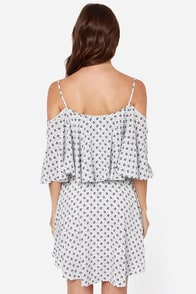 Shoulder to Shoulder Black and Ivory Print Dress at Lulus.com!