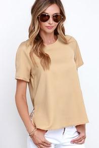 Glamorous Dancing Dunes Beige Short Sleeve Top at Lulus.com!