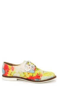 Luichiny Lucky Girl Red and Yellow Fabric Oxford Flats at Lulus.com!