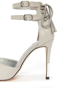 Luichiny Dark Sky Light Grey Lace-Back Pointed Heels at Lulus.com!