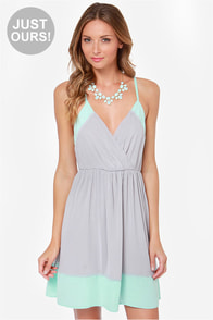 LULUS Exclusive Raise the Stakes Mint and Grey Dress at Lulus.com!