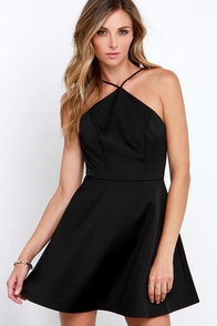 Keepsake Crossroads Black Skater Dress at Lulus.com!