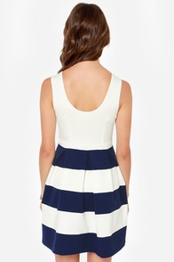 Theme Song Navy Blue and Ivory Dress at Lulus.com!