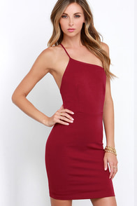 For a Time Wine Red One Shoulder Bodycon Dress at Lulus.com!
