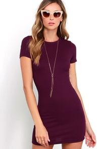 Hey Good Lookin' Short Sleeve Plum Purple Dress