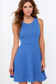 Sweet as Ever Blue Skater Dress at Lulus.com!