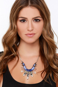 Fire Bird Blue Rhinestone Statement Necklace at Lulus.com!