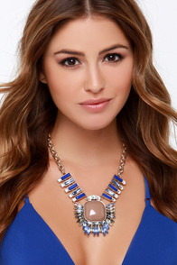 At the Center Blue Rhinestone Statement Necklace at Lulus.com!