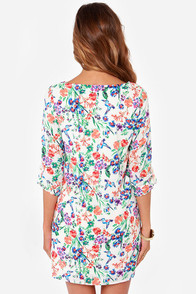 Early Bird Ivory Floral Print Shift Dress at Lulus.com!