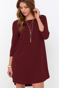 BB Dakota Devin Burgundy Shift Dress at Lulus.com!