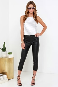 Evil Twin The Blondie Black Vegan Leather Cropped Pants at Lulus.com!
