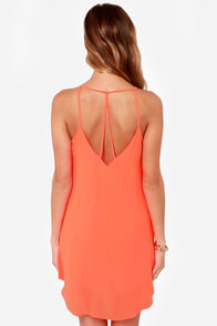 Cross Your T's Neon Orange Shift Dress at Lulus.com!