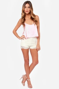 Pride of Lace Cream Lace Shorts at Lulus.com!