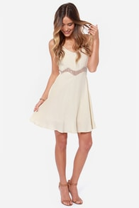 Midriff Management Lace Cream Dress at Lulus.com!