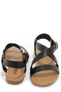 Soda Borgo Black Ankle Strap Flat Sandals at Lulus.com!