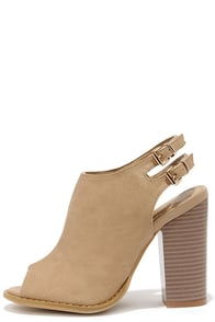 First to Know Beige Peep-Toe Booties at Lulus.com!