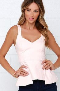 To Each Their Throne Blush Pink Peplum Top at Lulus.com!