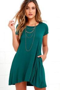Twenty-four Seven Teal Shift Dress at Lulus.com!