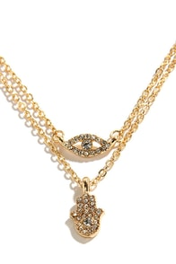 Lucky Pair Gold Rhinestone Necklace Set at Lulus.com!