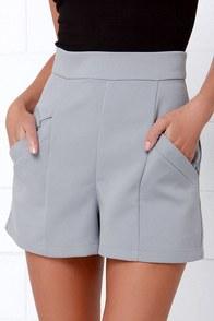 BB Dakota Bryan Grey High-Waisted Shorts $63.00 AT vintagedancer.com