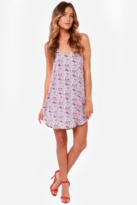 Cross Your T's Blue Print Shift Dress at Lulus.com!