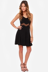 Midriff Management Lace Black Dress at Lulus.com!