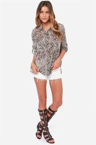 RVCA Talons Ivory and Black Print Top at Lulus.com!