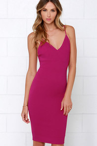 Amorous Magenta Bodycon Midi Dress at Lulus.com!