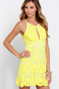 Put a Meringue On It Yellow Lace Dress at Lulus.com!