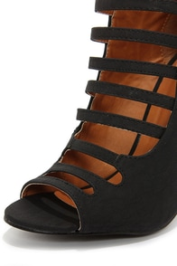 Blair 1 Black Caged High Heel Booties at Lulus.com!