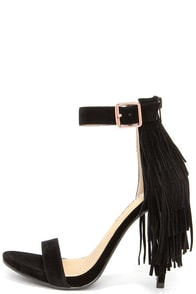 Fringe Benefit Black Fringe Heels at Lulus.com!