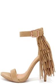 Fringe Benefit Camel Fringe Heels at Lulus.com!