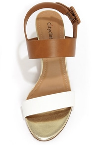 City Classified Camya White and Light Tan Wedge Sandals at Lulus.com!