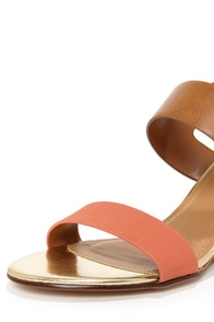 City Classified Camya Salmon and Light Tan Wedge Sandals at Lulus.com!