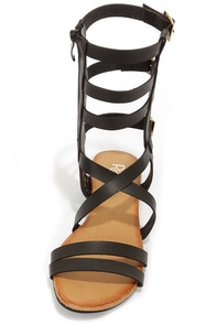 Ongee 08 Black Tall Caged Gladiator Sandals at Lulus.com!