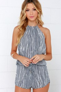 Fortuitous Navy Blue Striped Halter Romper